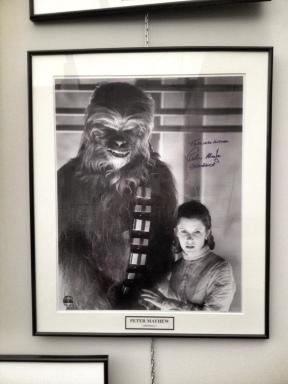 Chewbacca y la princesa Leia en la exposición de la plaza de Okendo. LUIS ROCA ARENCIBIA