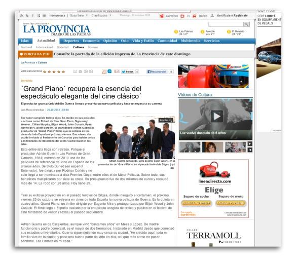 Así se ve en la versión digital de La Provincia la entrevista a Adrián Guerra. Como digo en el texto, llega tarde, sí, pero es la primera.