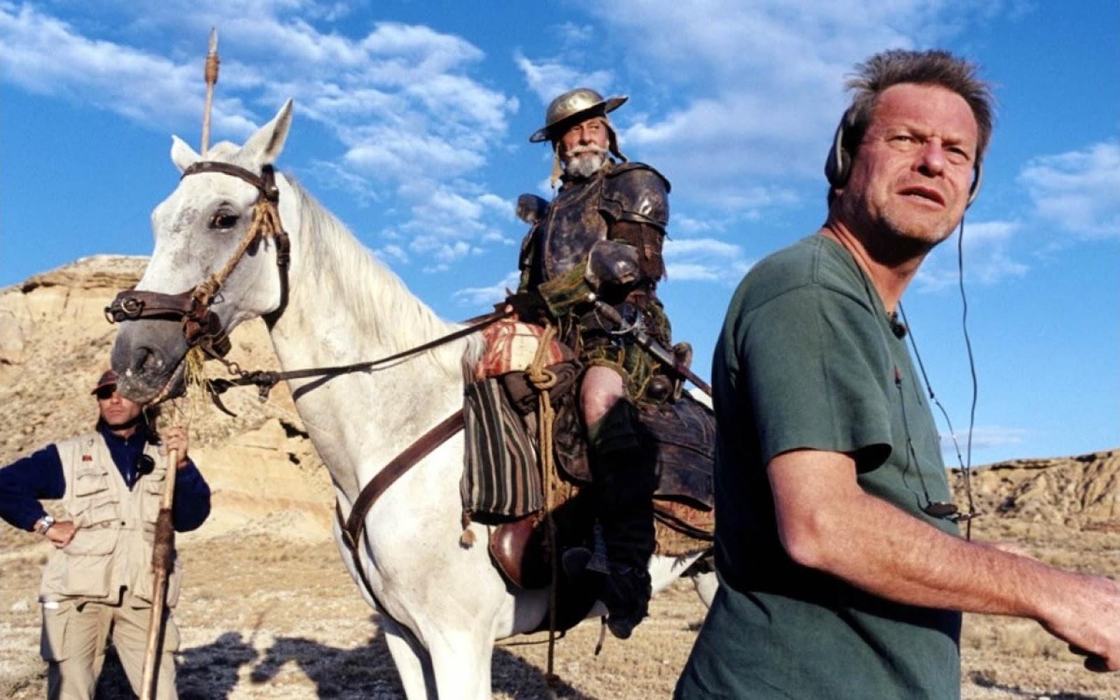 """""""Lost in La Mancha"""", """"The Man Who Killed Don Quixote"""" han sido títulos de este filme maldito que ha tenido siete intentonas para rodarse.  """"Luchamos contra maldición"""", afirma Adrián Guerra. En la imagen, momento del rodaje en 2000, cuando Don Quijote iba a ser interpretado por Jean Rochefort."""