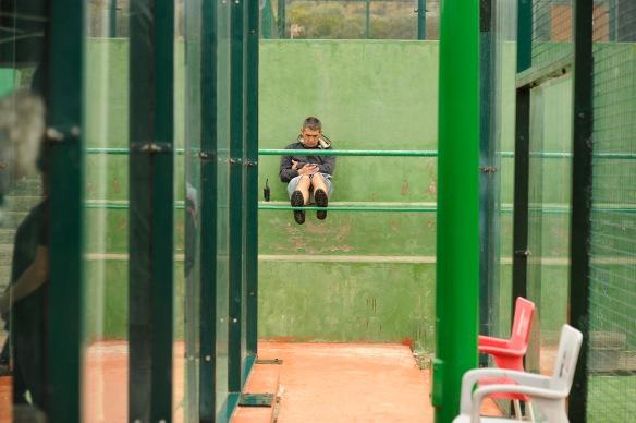 """Novella, en 2013 en el club de pádel La Calzada de Las Palmas de Gran Canaria, durante el rodaje de """"El niño"""", de Daniel Monzón."""
