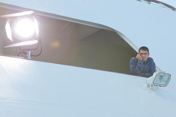 """Toni Novella durante el rodaje de la miniserie de televisión """"Marco"""" (2011-2012)."""