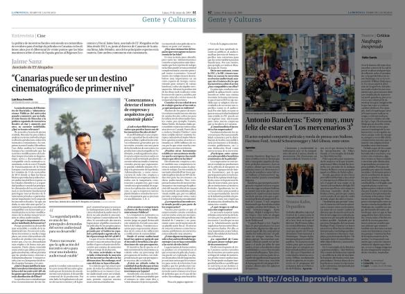Así apareció publicada la entrevista a Jaime Sanz en la edición en papel de La Provincia el 19 de mayo de 2014.