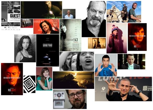 Collage de fotos con imágenes de películas de Adrián Guerra, directores y actores  que trabajan con él.