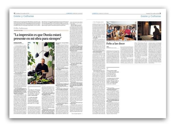 La entrevista con Félix Sabroso, tal y como salió publicada en el periódico La Provincia de Canarias el 12 de octubre de 2014.