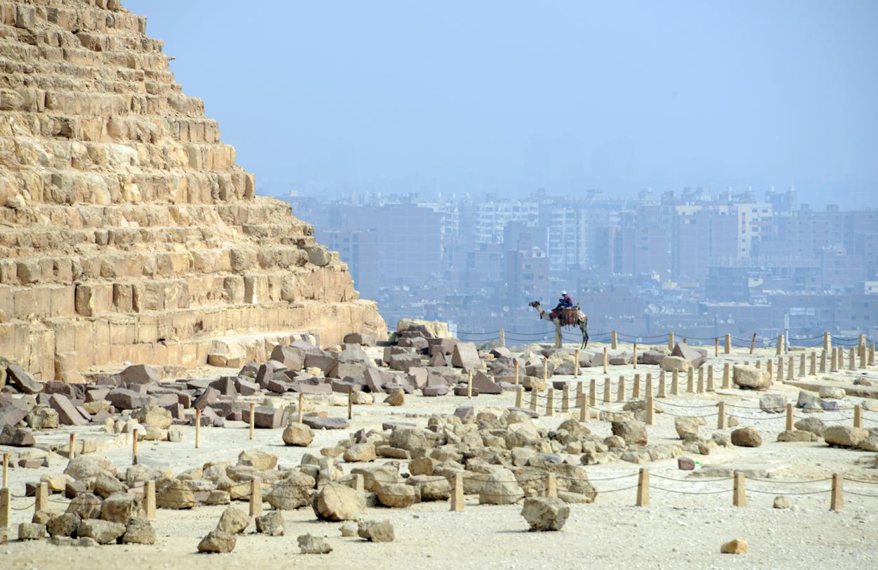 Camello junto a la Gran Pirámide, con El Cairo al fondo / LUIS ROCA ARENCIBIA