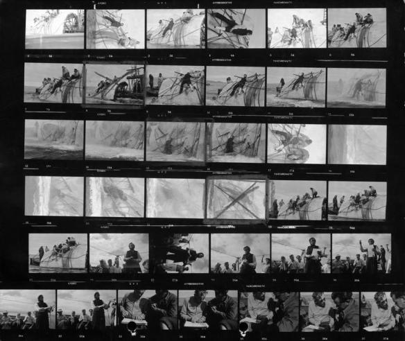 Copias de contacto de momentos del rodaje de Moby Dick en Las Palmas de Gran Canaria.
