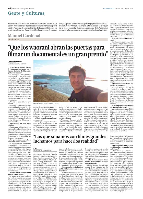 La entrevista, tal y como apareció publicada el pasado domingo en La Provincia. / OAC
