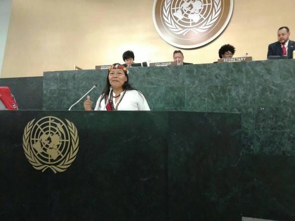Manuela Ima, en una comparecencia en Naciones Unidas. / OAC