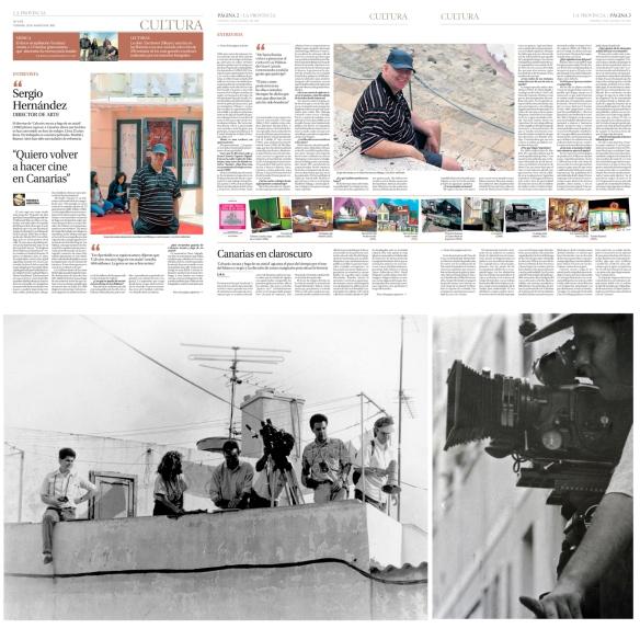 """El artículo, tal y como se publicó en La Provincia, sobre dos fotos tomadas durante el rodaje de """"Calvario, tocata y fuga de un ataúd"""" en 1988 / OAC-GCED"""