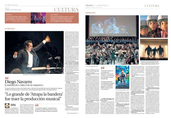 Así fue publicada en La Provincia la entrevista a Diego Navarro, el 28 de agosto de 2015 / OAC