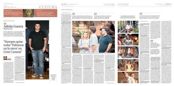 Así salió publicada la entrevista a Adrián Guerra en La Provincia el viernes, 11 de diciembre. / OAC