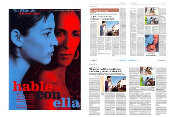 """Junto al cartel de """"Hable con ella"""", primera película de Paco Rodríguez fuera de Canarias, las entrevistas tal y como fueron publicadas en La Provincia y La Opinión de Tenerife estos días. / OAC"""