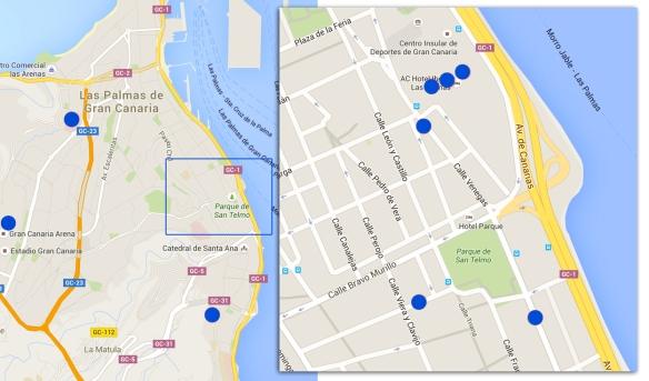 """En azul, los puntos donde se rodaron escenas de """"Cien años de perdón"""", con el recuadro ampliado a la derecha. / Elaboración propia OAC"""