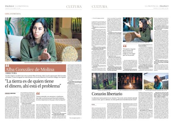 .Así salió la entrevista en el suplemento de Cultura de La Provincia del viernes 8 de abril. / OAC