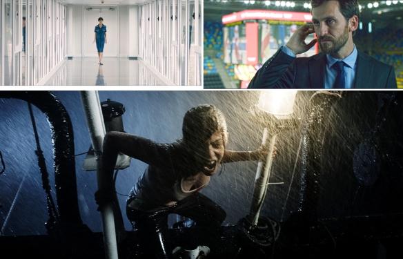 """Arriba izquierda, Geraldine Chaplin en """"La isla interior"""", de Félix Sabroso y Dunia Ayaso; Raúl Arévalo en """"Cien años de perdón""""; y Manuela Velasco en """"REC 4: Apocalipsis"""" / OAC"""