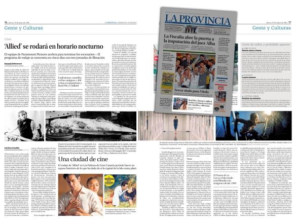 Así, con llamada en la portada del periódico, se publicó en La Provincia este artículo sobre rodajes de cine en Las Palmas. / OAC