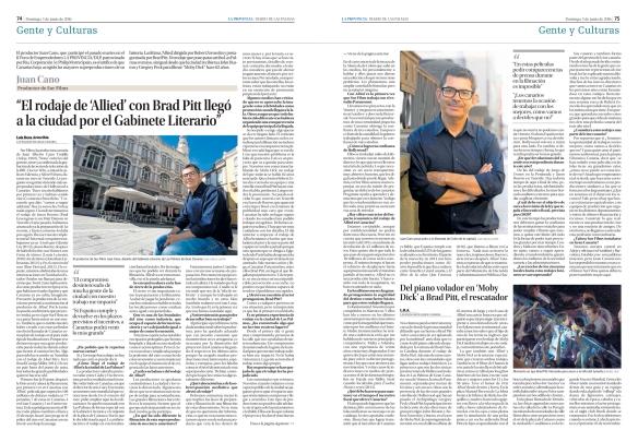 La entrevista a doble página, tal y como fue publicada a doble página el domingo 5 de junio en el periódico La Provincia. / OAC