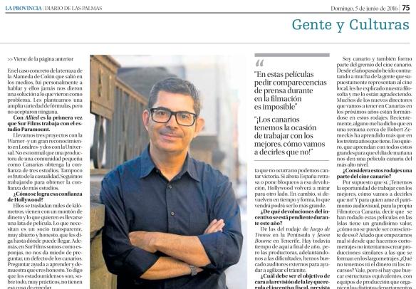 Un fragmento de la entrevista como fue publicada en La Provincia, con fotografía de Juan Cano a cargo de Juan Carlos Castro. / OAC