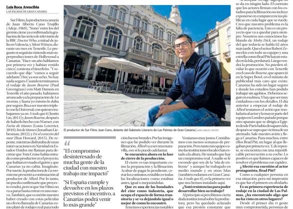 Otro fragmento de la entrevista, tal y como apareció en La Provincia. La foto también es de Juan Carlos Castro. / OAC