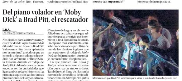 Fragmento de la entrevista en La Provincia, con foto de Andrés Cruz. / OAC