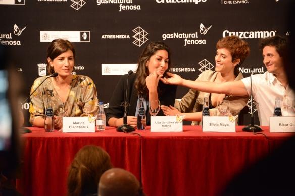 """Discazeaux, González de Molina, Maya y Gil, en un momento de la rueda de prensa de """"Julie"""" en Málaga. / LUIS ROCA ARENCIBIA"""