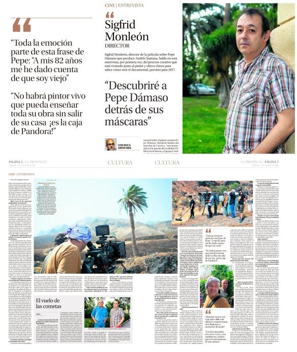 Montaje con la entrevista como fue publicada el viernes, 5 de julio, en La Provincia.